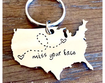 NEW! XL Stainless Steel Usa Keychain Customized Miss Your Face Best Friends Long Distance Relationship Gift Personalized Message