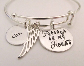 Memorial Bracelet - Personalized Bracelet - Forever in my Heart - Remembrance Jewelry