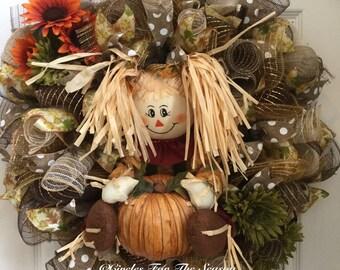 Fall wreath, deco mesh wreath, scarecrow wreath, fall door decor, cute fall wreath