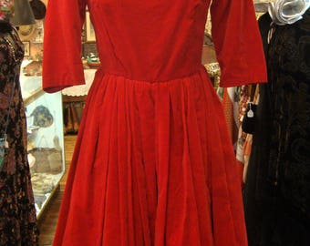 Vintage 1950's 1960's Red Velveteen Bubble Dress * Extra Small - Small