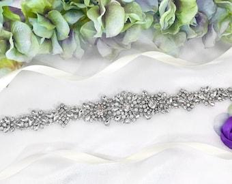 Modern Bridal Sash, Clear Crystal Wedding Belt, Skinny Bride sash, Bridal Belt, Wedding Sash, Tapered Bridal Belt, Wedding Sashes and Sashes