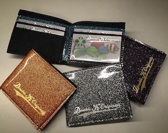Men's Wallet • CUSTOM • Glitter Retro Handbag • Sparkle Vintage Style Vinyl Bag • Metal Flake Rockabilly Purse • MADE in USA