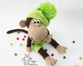 Naughty monkey. Softie Unusual monkey. Knitting pattern. Knitted round. Monkey pattern. Monkey making. Doll making. PDF Monkey charm toy