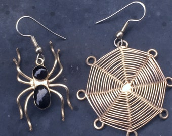 Handmade silver tone Spider and Spider Web Goth Earrings