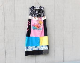 Tshirt Dress, Summer Tunic, Upcycled Clothing, Peace, Love, Black, Polkadot, Tunic, Upcycled Dress, Romantic, CreoleSha