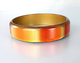 Mod Bangle, Copper Gold Moonglow Lucite Bracelet, Orange Yellow 1960s jewelry