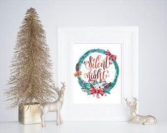 Silent Night Printable, Holiday Printable, Printable Wall Art, Inspirational Printable, Christmas Printable Art, Flower Printable Art,  Q12