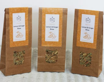 Lemon & Ginger Brew teabelly Organic Artisan Herbal tea Tisane Infusion