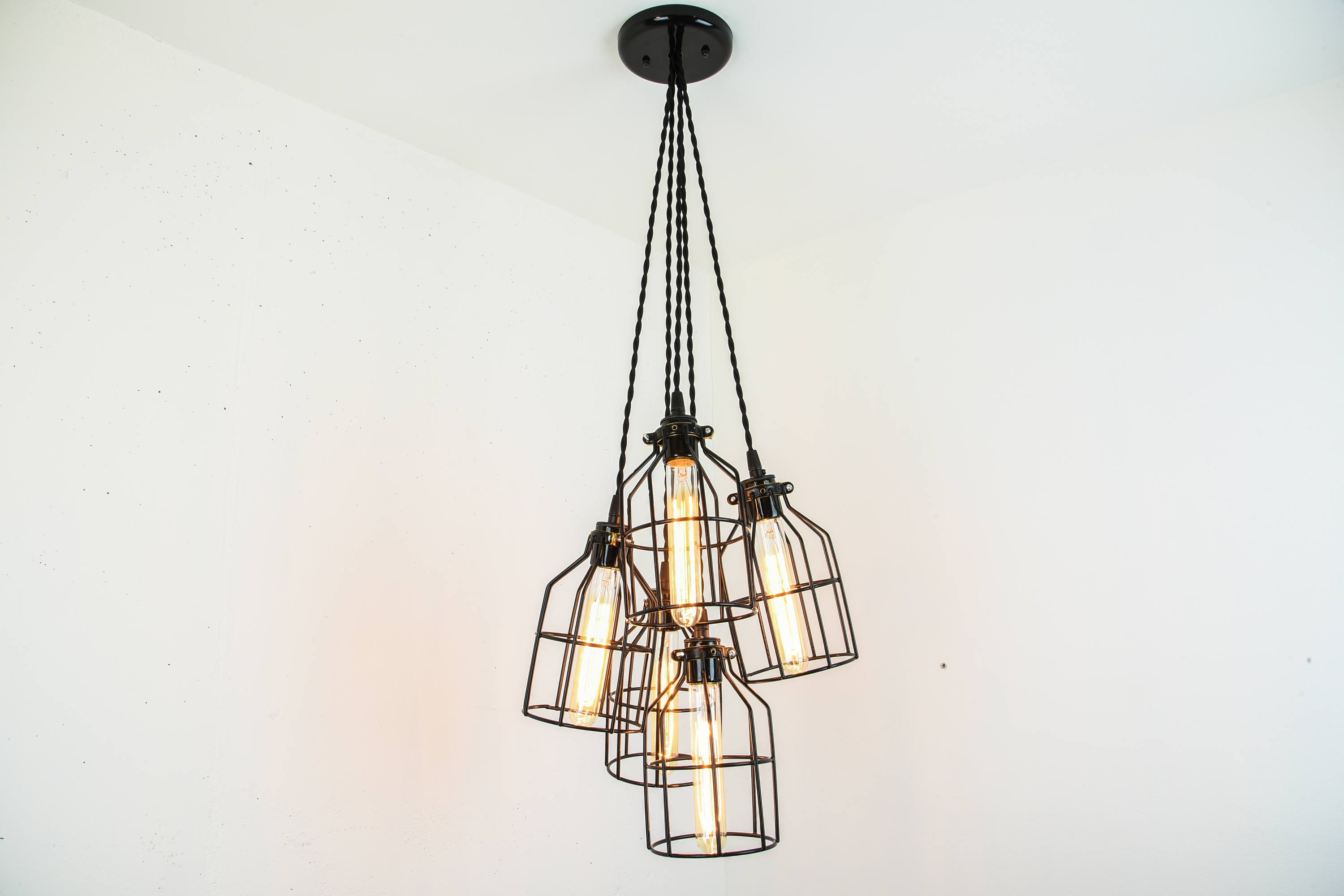 large chandelier light of industrial bulb exposed products shades ceiling