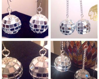 DISCO BALL earrings/Disco Diva/Mirrored Disco Balls/Bling/Sparkle/Mirrored Ball Earrings/New Years Eve Jewelry/NYE Party/Fun Fashion Jewelry