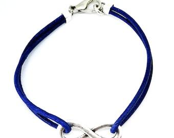 Blue leather infinity bracelet