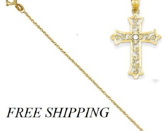 14k Yellow Gold Diamond Cross Pendant with 14k Chain