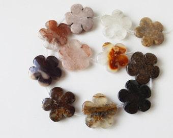Multi gemstone 30 mm flower  beads ( #J1304)