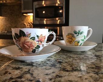 2 vintage yellow rose tea cups