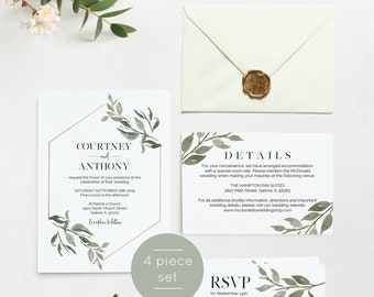 Greenery Wedding Invitation Template, Wedding Invite, Wedding Invitation Printable, Instant Download, Editable PDF, WLP798