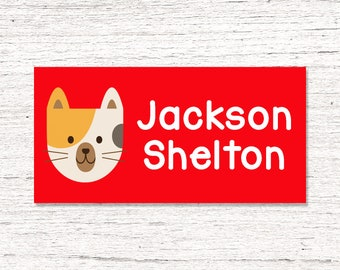 40 Waterproof Baby Bottle Labels - Dishwasher Safe - Sippy Cup Labels - Daycare School Name Labels -  Boy Kitty Cat Red