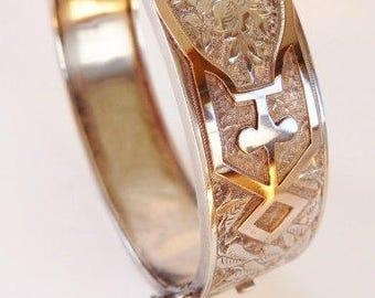 Antique Victorian engraved chased floral cuff bracelet | sterling gold bracelet | Edwardian Aesthetic | vintage wedding jewelry | 1890 1910