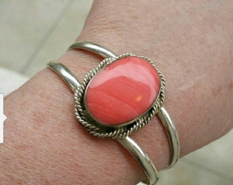Rhodochrosite sterling silver Mexico cuff bracelet