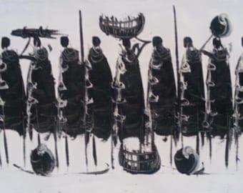 Black & white maasai community painting, Africa painting, Kenya painting, wall hanging, home decor