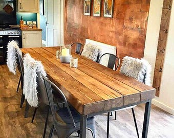 Reclaimed Industrial Sleeper 10 12 Seater Dining Table   Bar Cafe  Restaurant Furniture Steel Solid