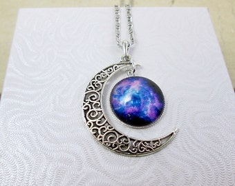 Large Crescent Moon Necklace Galaxy Moon Necklace Nebula Necklace Space Universe Necklace Moon Luna Jewelry Trendy Necklace Gift for Her