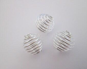3 perle cage en métal argenté clair 14 x 15 mm