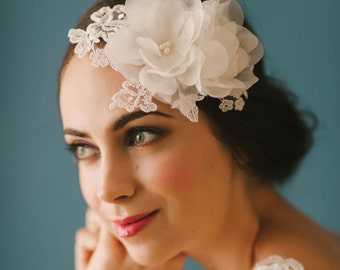 Handmade silk flowers bridal hair piece with lace motif & pearl centers.