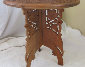 2 Part Hand Carved Folding Indian Table
