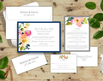 Floral Watercolour Wedding Invitation Set, Watercolour Peonies, Rose Invites, Navy Blue and Grey