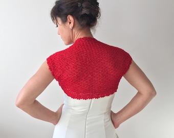 Red bolero, wedding shrug, sleeveless bolero, wedding shrug, bridal bolero shrug, knitted lacy bolero, gift for her, XS-XXL, fast shipping