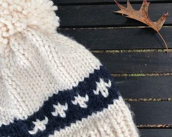 The Carrington - Chunky Knit Adult Size Beanie (Cream/Navy)