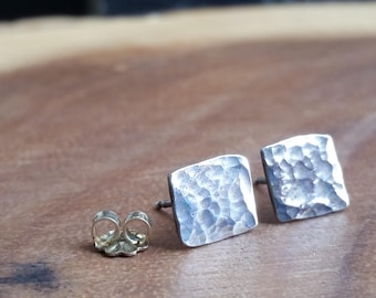 Hammered Sterling Silver Studs Hammered Studs Modernist Stud Earrings Hammered Texture Studs Hammered Silver Stud Earrings Textured Studs