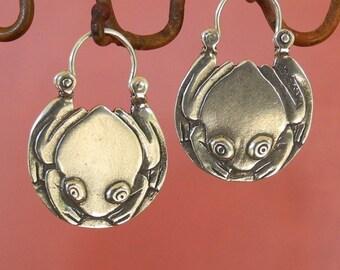 Tree Frog Hoop Earrings - tribal - sterling silver