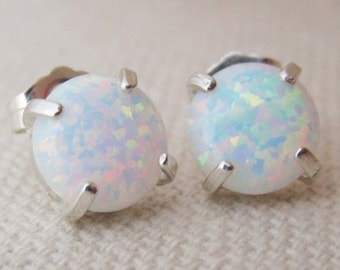 Silver Opal Stud Earrings, Small Round Sterling Silver Opal Earrings, Opal Jewelry, October Birthstone, Bridesmaid Gift