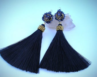 luxurious blue-and-gold glittering earrings tassels with lace,dark blue earrings,long ,boho chic,stylish earrings to buy,silver plated