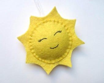 Felt SUN ornament home decoration for kids room smiling Housewarming Baby shower gift for her for him gift idea nursery decor nature