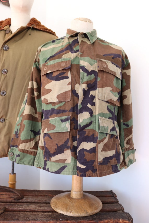 "Vintage 1990s 90s US army rip stop cotton camo shirt 43"" chest USA US military"