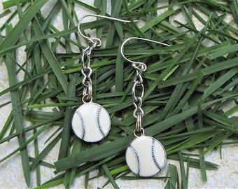 Enameled Baseball Charm on Chain Earrings