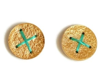 Gold plated Silver round disc earrings studs stitched with embroidery thread