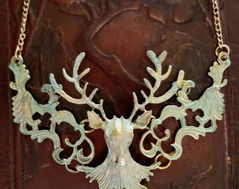 Ornate Deer Stag Head Antler Necklace Distressed Patina Filigree Style- 2 Colors