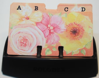 Watercolor Floral Rolodex Divider Cards