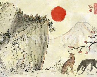 Sakura Hounds - greyhound dog painting print - Japanese painting inspired - CANVAS print