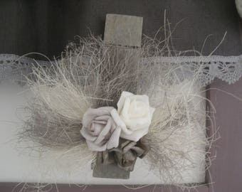 large clothespin limed grey with decorative flowers