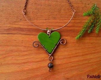 Heart pendant necklace Heart jewelry Heart necklace Polymer clay necklace Copper wire necklace Heart pendant jewelry Polymer clay jewelry