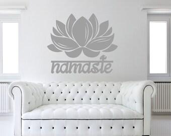Fiore di loto con Namaste rimovibile Wall Art Decor decalcomania vinile adesivo