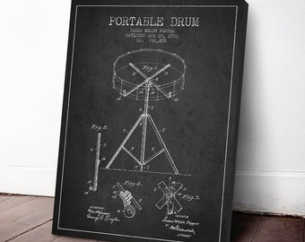 1903 Portable Drum Patent, Drum Print, Drum Canvas Print, Drum Poster, Wall Art, Home Decor, Gift Idea, MUIN13C