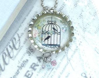 Birdcage Necklace Shabby Chic Necklace Black Bird Necklace Bottle Cap Necklace Birdcage Jewelry