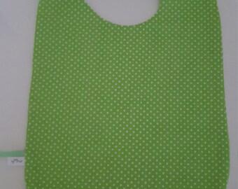 """Large bib one size fits Green Apple """"confetti"""" polka dots"""