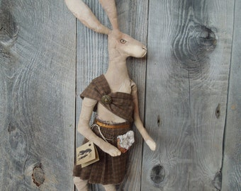 Scottish Hare Rabbit wearing Kilt Primitive Soft Sculpture Doll