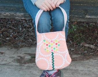 Girls Small Purse Polka Dot Flower Tote Small Tote Girls Purse Toddler Mini Tote Handmade